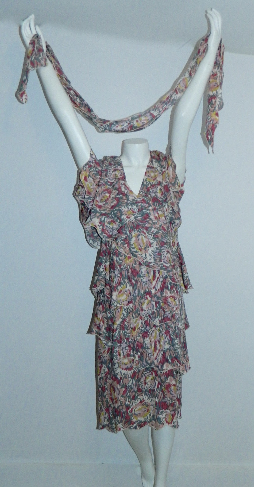 vintage 1980s Holly's Harp dress pink tiered silk floral dress XS