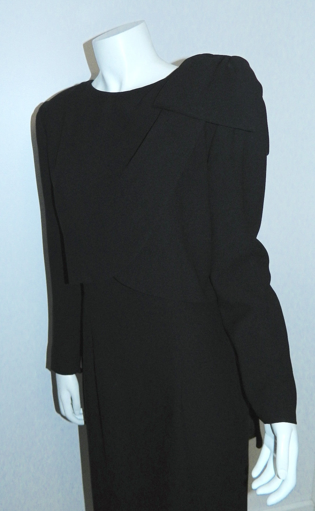 vintage 1980s black crepe dress Christian Dior side bow drape cocktail dress
