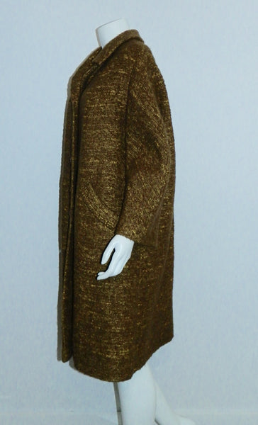 copper tweed coat 1960s vintage YouthCraft nubby boucle topper L - XL