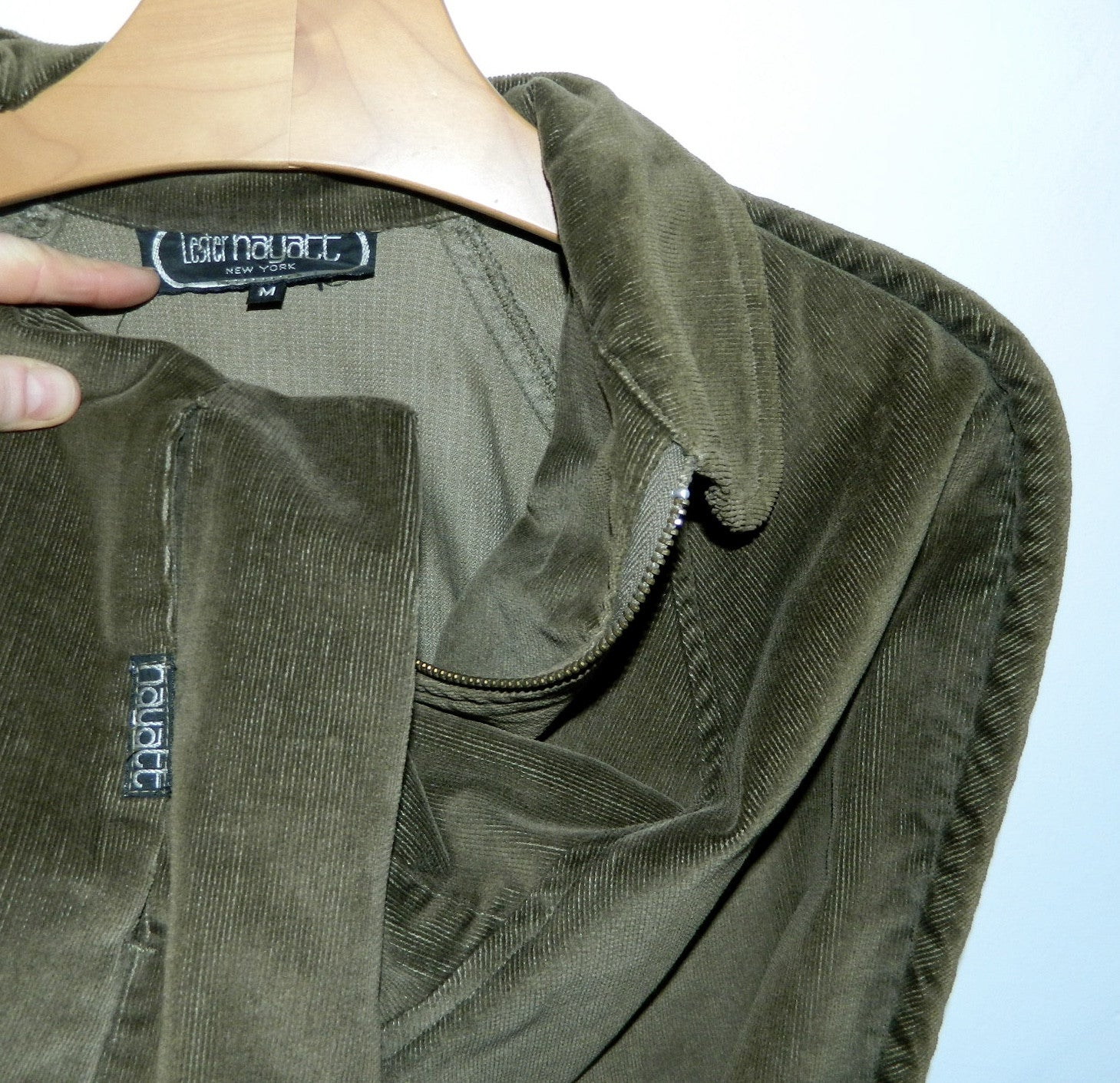 vintage 1980s olive green car coat Lester Hayatt corduroy barn jacket swing coat M OSFM