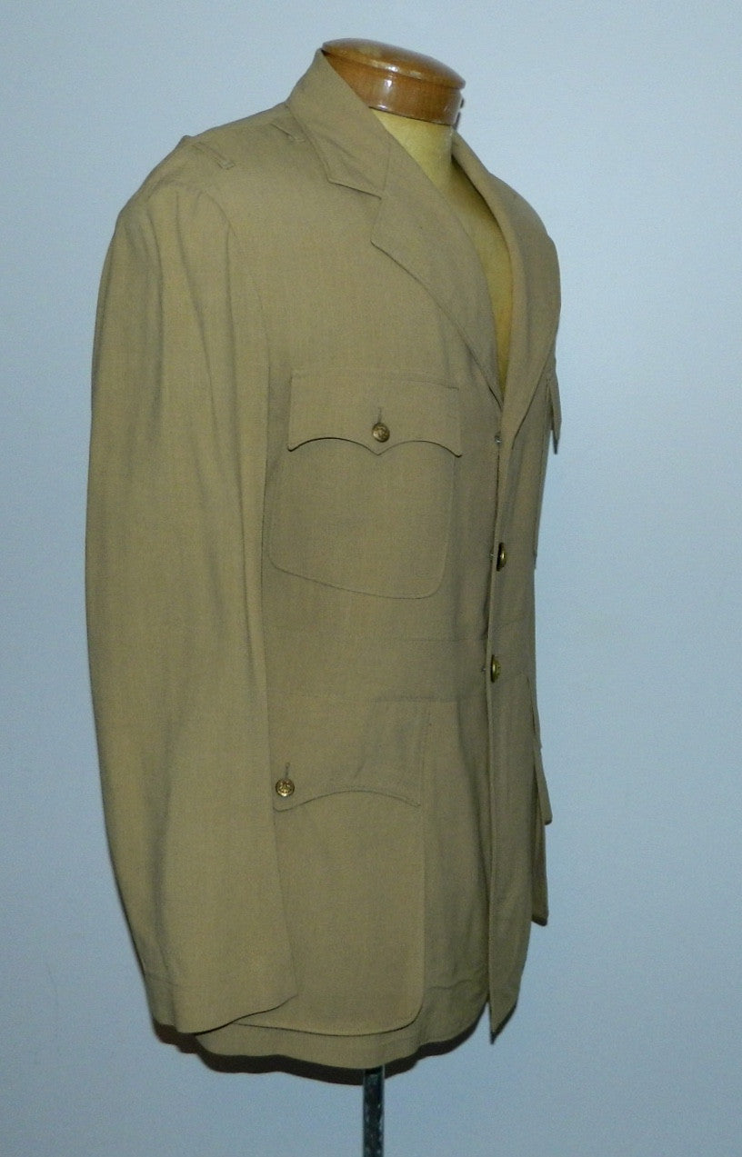 vintage WWII 1940s US Navy tan / khaki wool Summer jacket 3 button blazer tunic