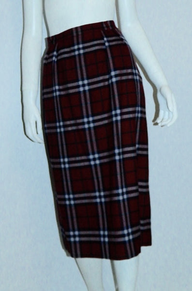 vintage BURBERRYS Nova Check pencil skirt classic 1980s burgundy plaid midi skirt L - XL