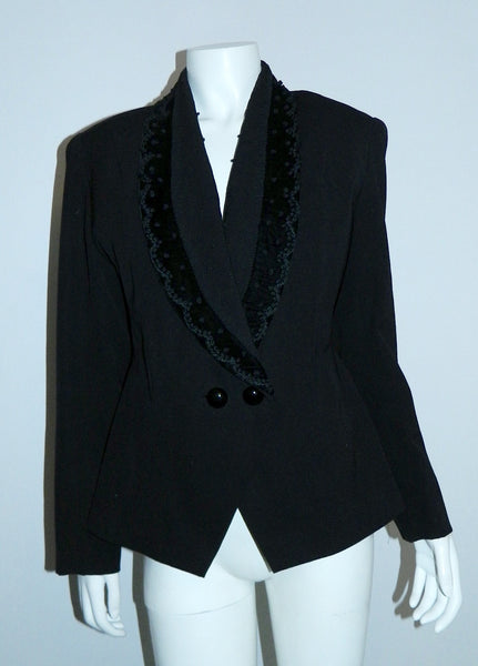 vintage 1940s blazer New Look black wool jacket embroidered velvet lapels S