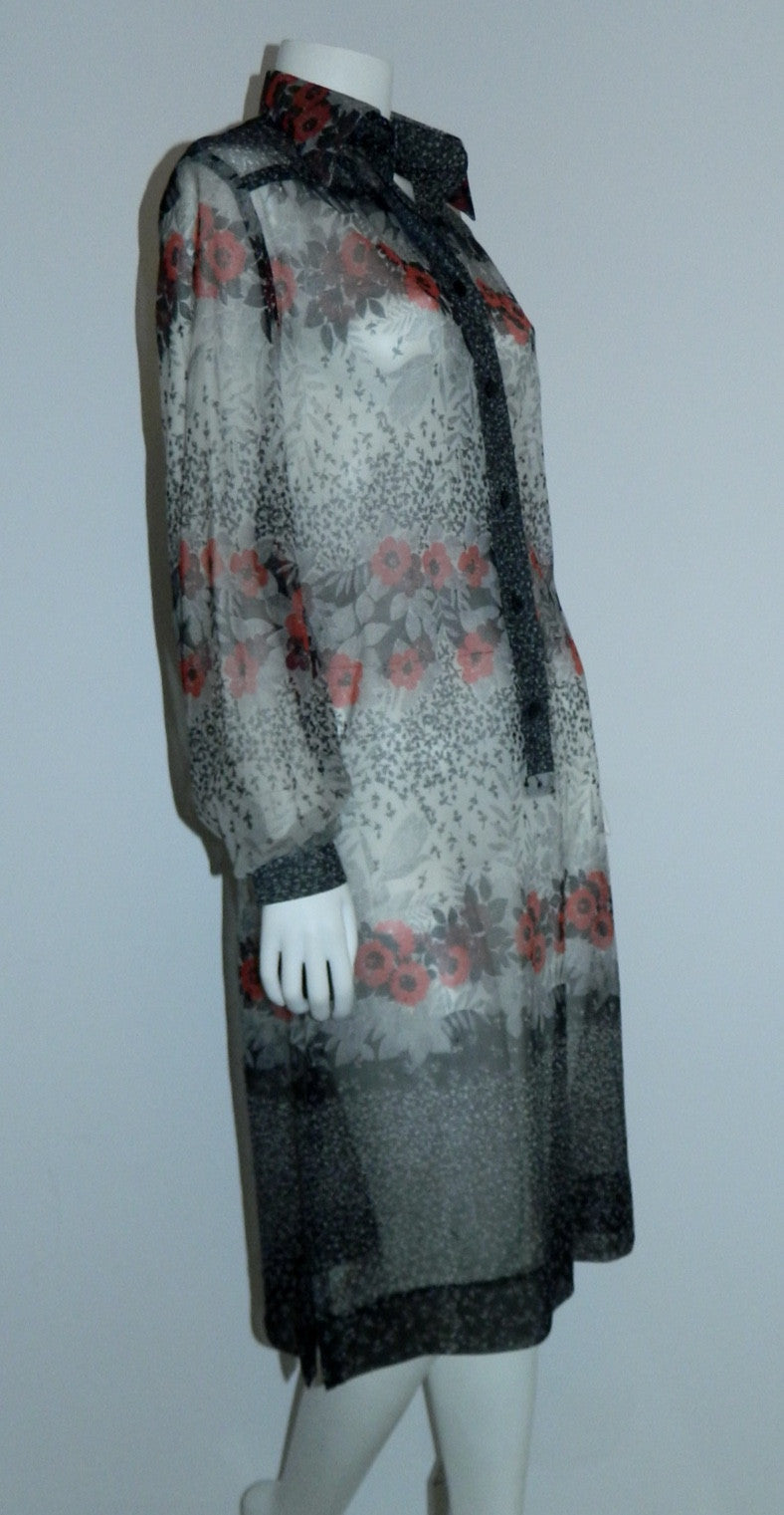 vintage Edith Flagg dress 1970s sheer floral shirtdress red black gray M