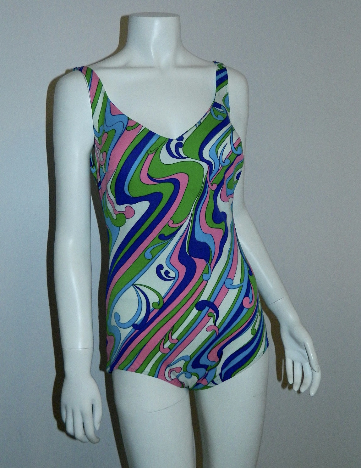 vintage 1960s swimsuit MOD lime pink SWIRL bathing suit S - M