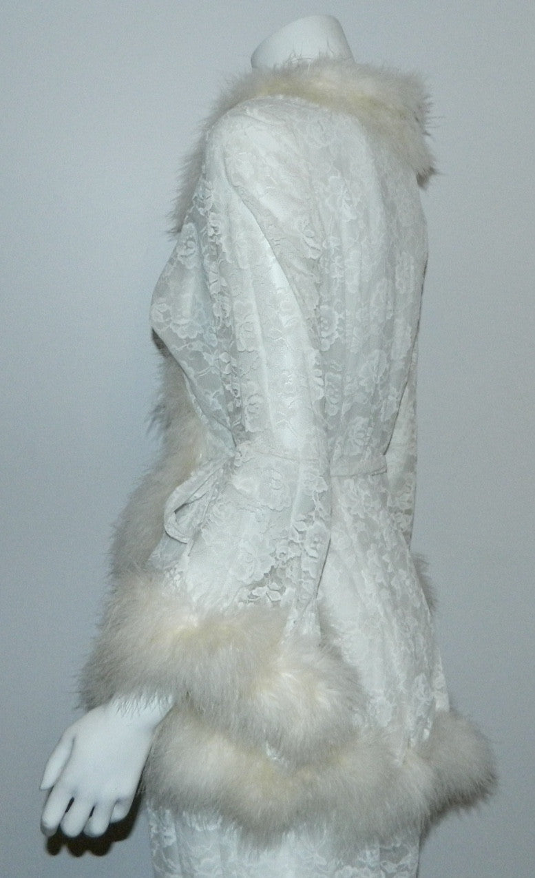 vintage GLYDONS of Hollywood white lace pajamas Marabou trim short robe pants set M