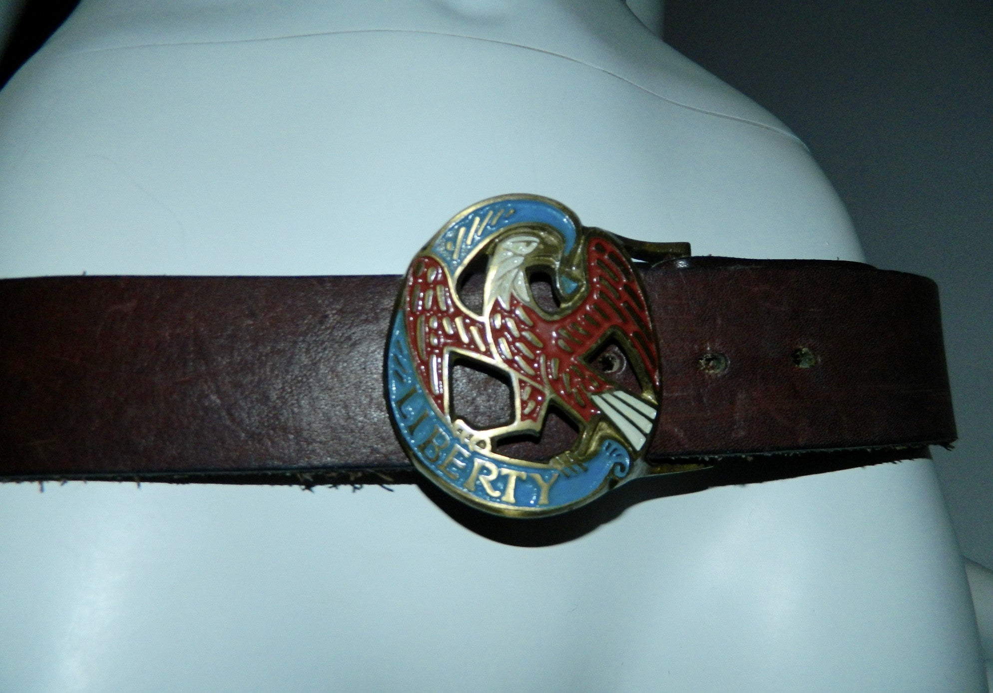 vintage 1970s leather belt Brass eagle buckle LIBERTY enamel 36 38