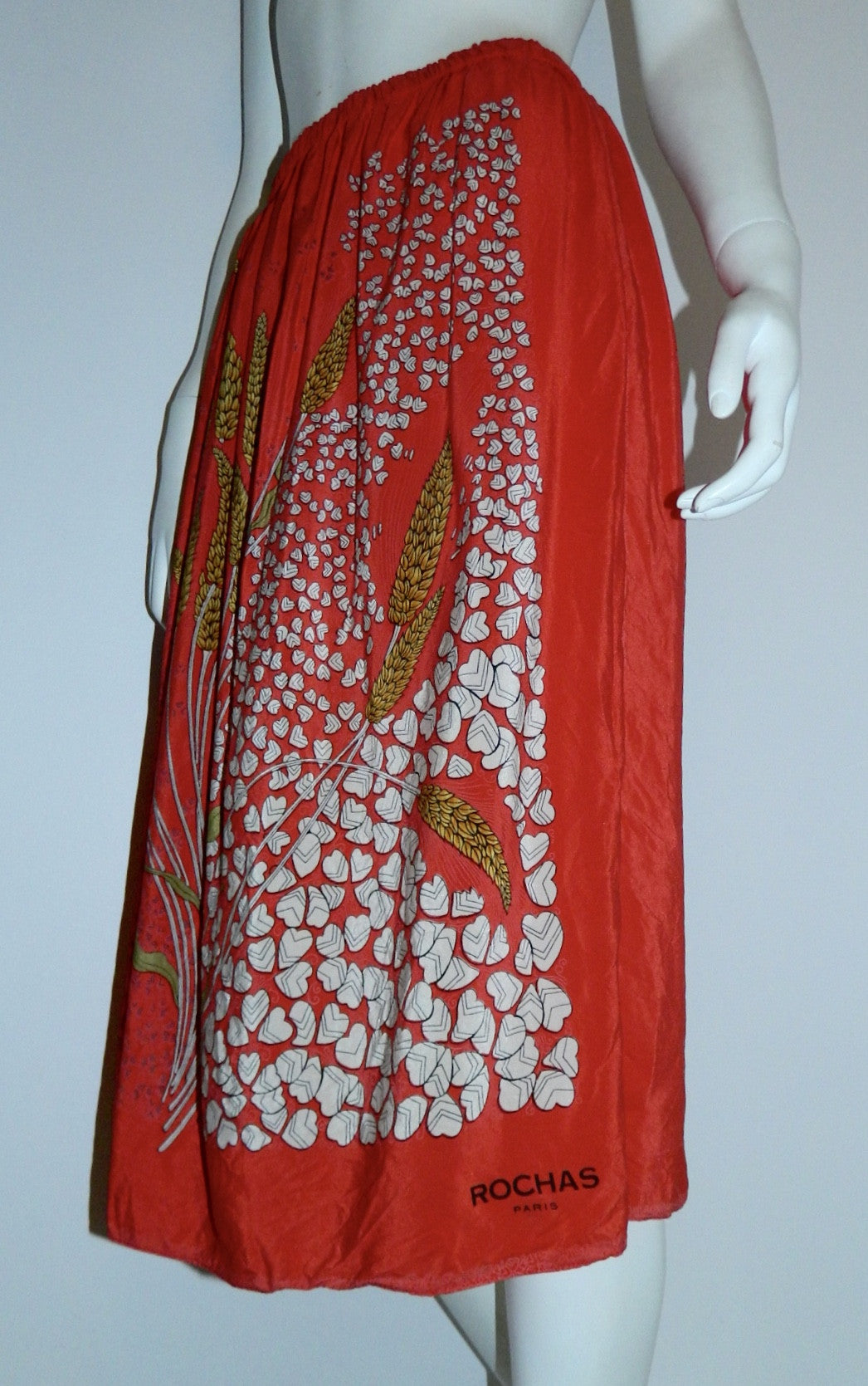 vintage silk midi skirt / 1970s ROCHAS red scarf skirt wheat fields / strapless dress OSFM