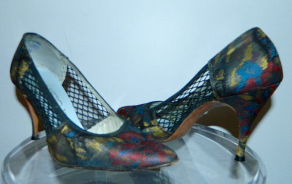 vintage 1950s stiletto heels / floral brocade high heels / black mesh cutouts US 6 - 7
