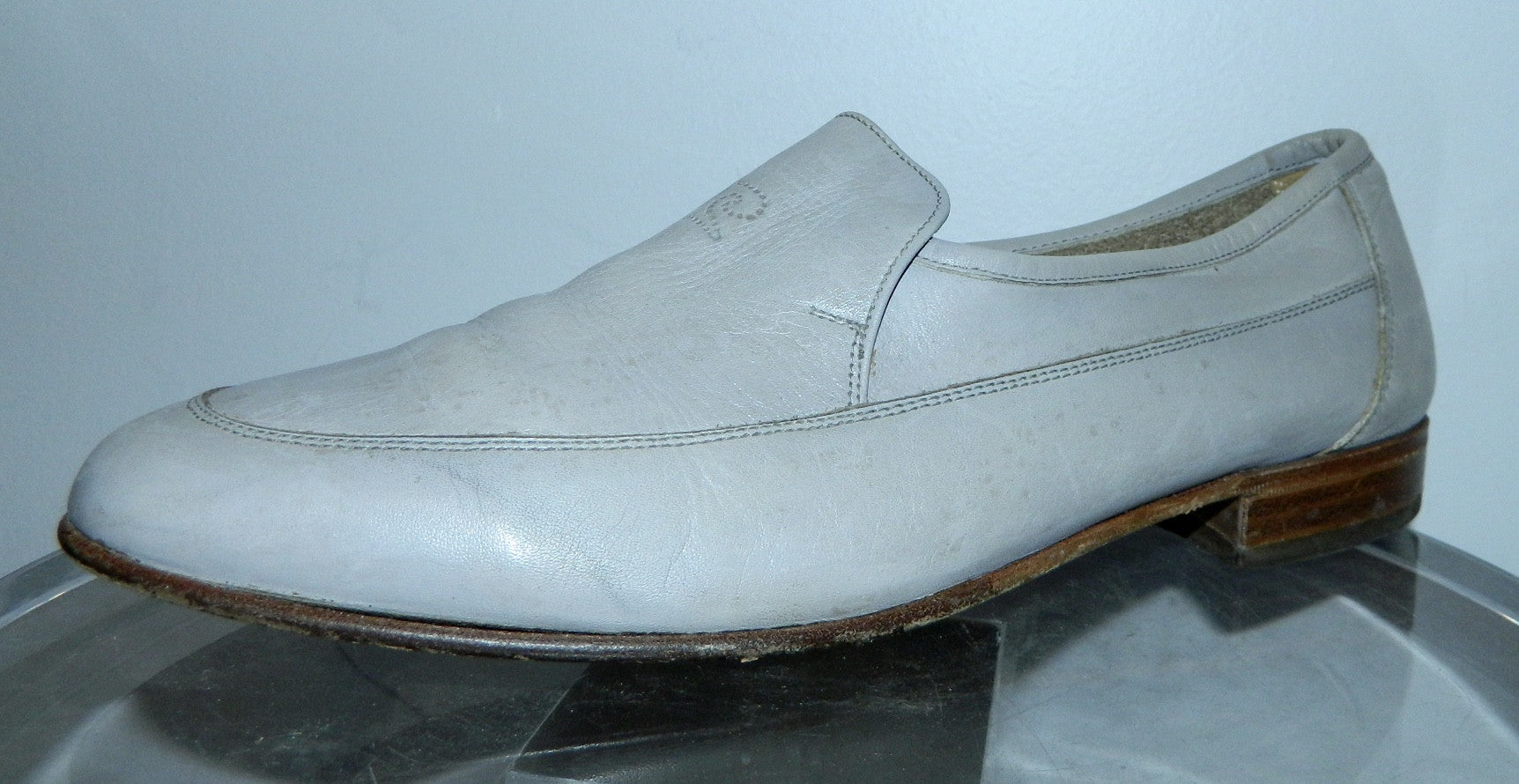 vintage 1960s loafers Pierre Cardin logo shoes dove gray leather Men's 8