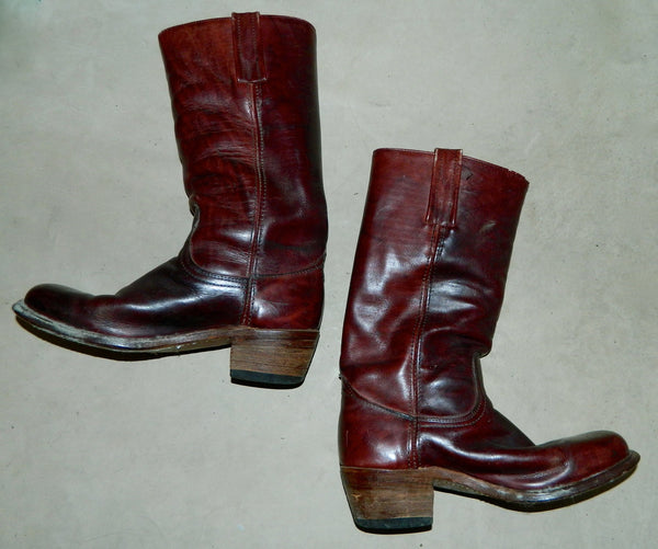 vintage 1970s burgundy FRYE boots Mens 9 D leather Harness Campus black label