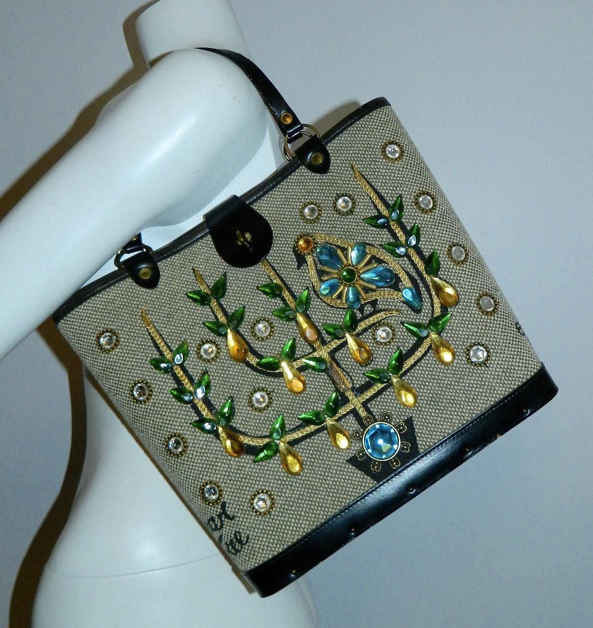 vintage 1960s Enid Collins tote bag Pear Tree jeweled purse wood panel
