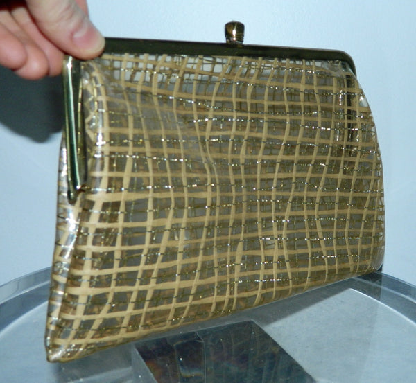 vintage 1950s plastic clutch bag clear gold metallic plaid