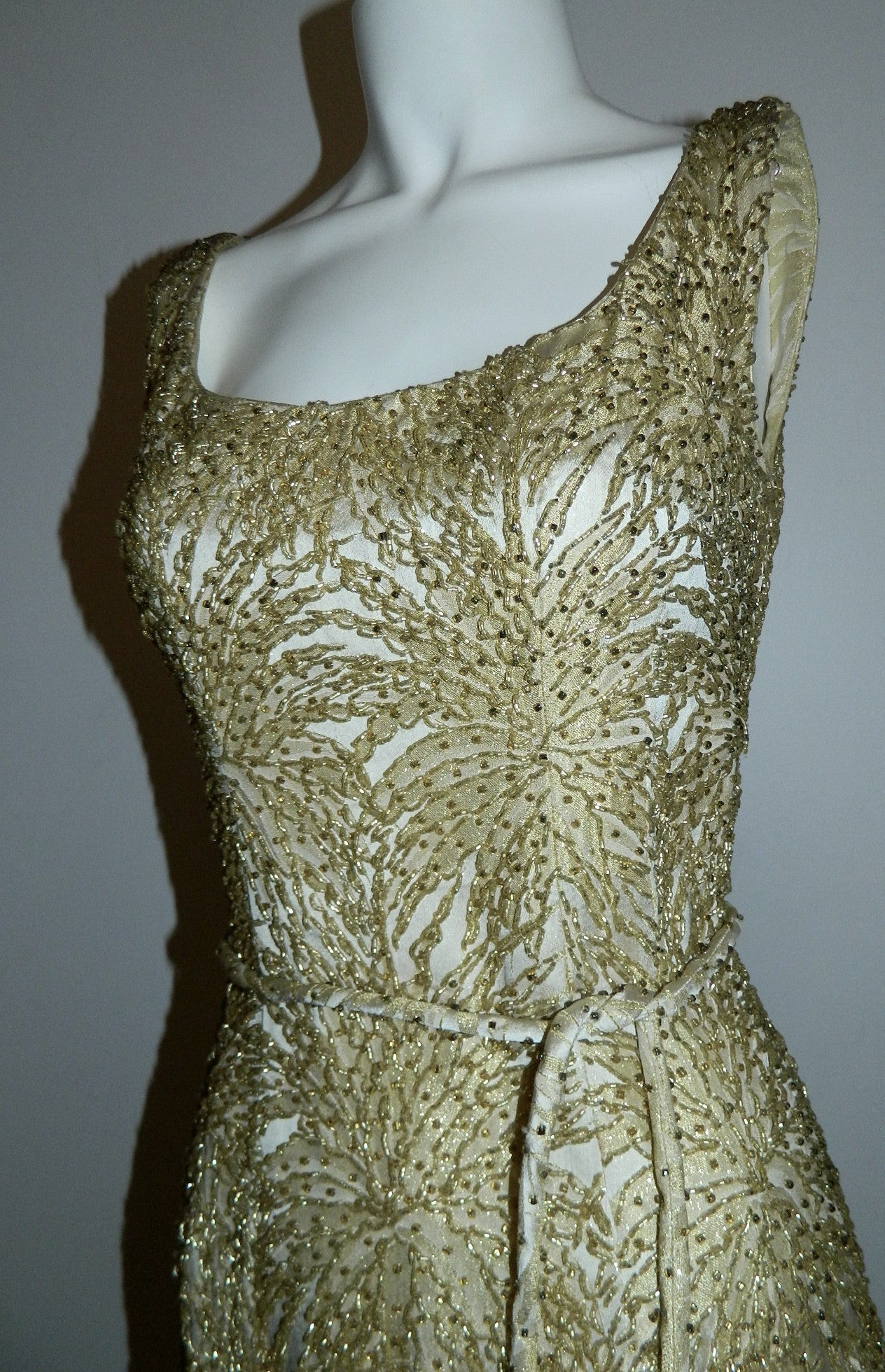 vintage 1960s beaded gown / gold chrysanthemum brocade wiggle dress degrede hand beading