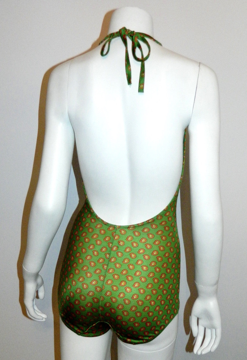 vintage 1970s green paisley JerSea of Sweden swim suit Halter neck bathing suit XS - S