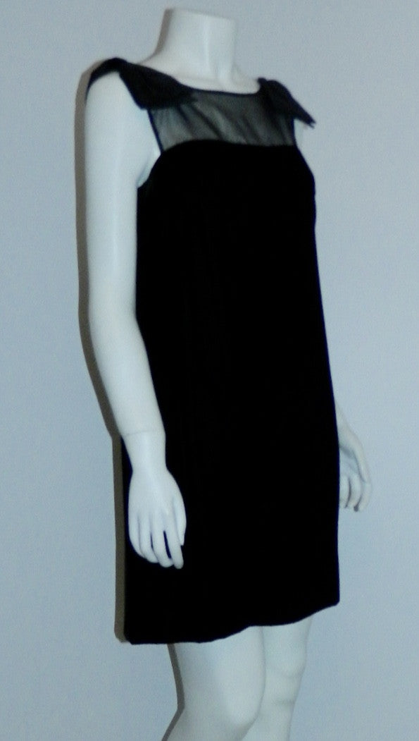 MOD mini dress vintage 1960s black velvet micro mini XS