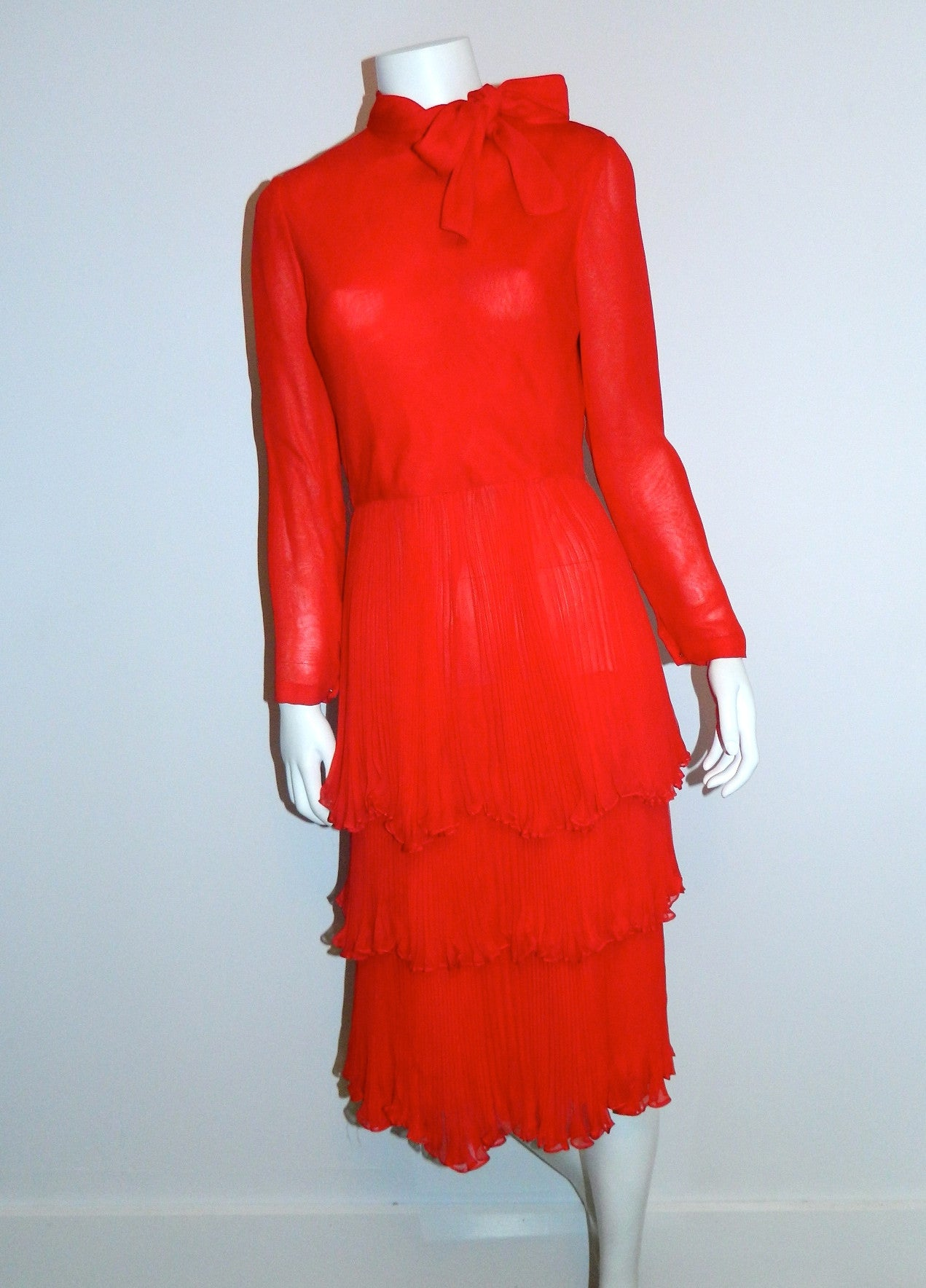 red silk chiffon John Anthony dress / 1970s vintage / tiered skirt / bow neck XS - S
