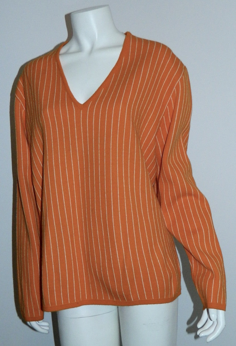 vintage 1960s MOD sweater orange Hartog for MAY Co. V- neck knit Mens M