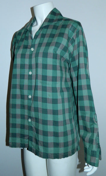 vintage 1940s teal plaid shirt Van Heusen Maggi button loop collar Mens S - M