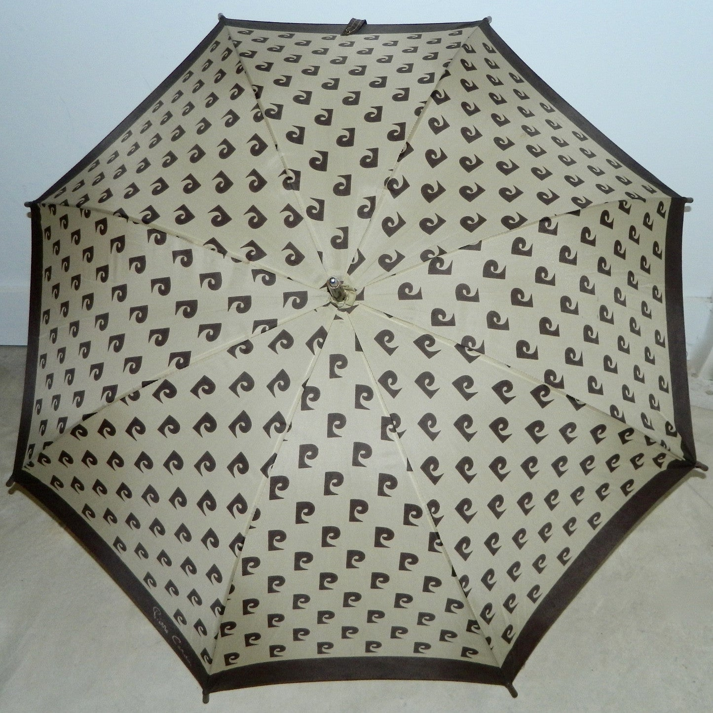 vintage 1970s Pierre Cardin monogram umbrella brown logo parasol