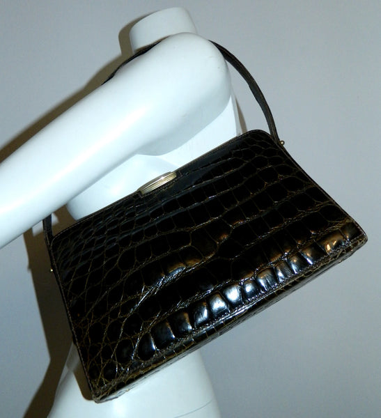 glossy brown crocodile handbag vintage 1940s Saks Fifth Avenue French made purse