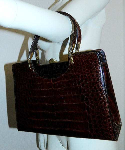 vintage 1960s alligator handbag Saks Fifth Avenue dark brown box bag frame purse
