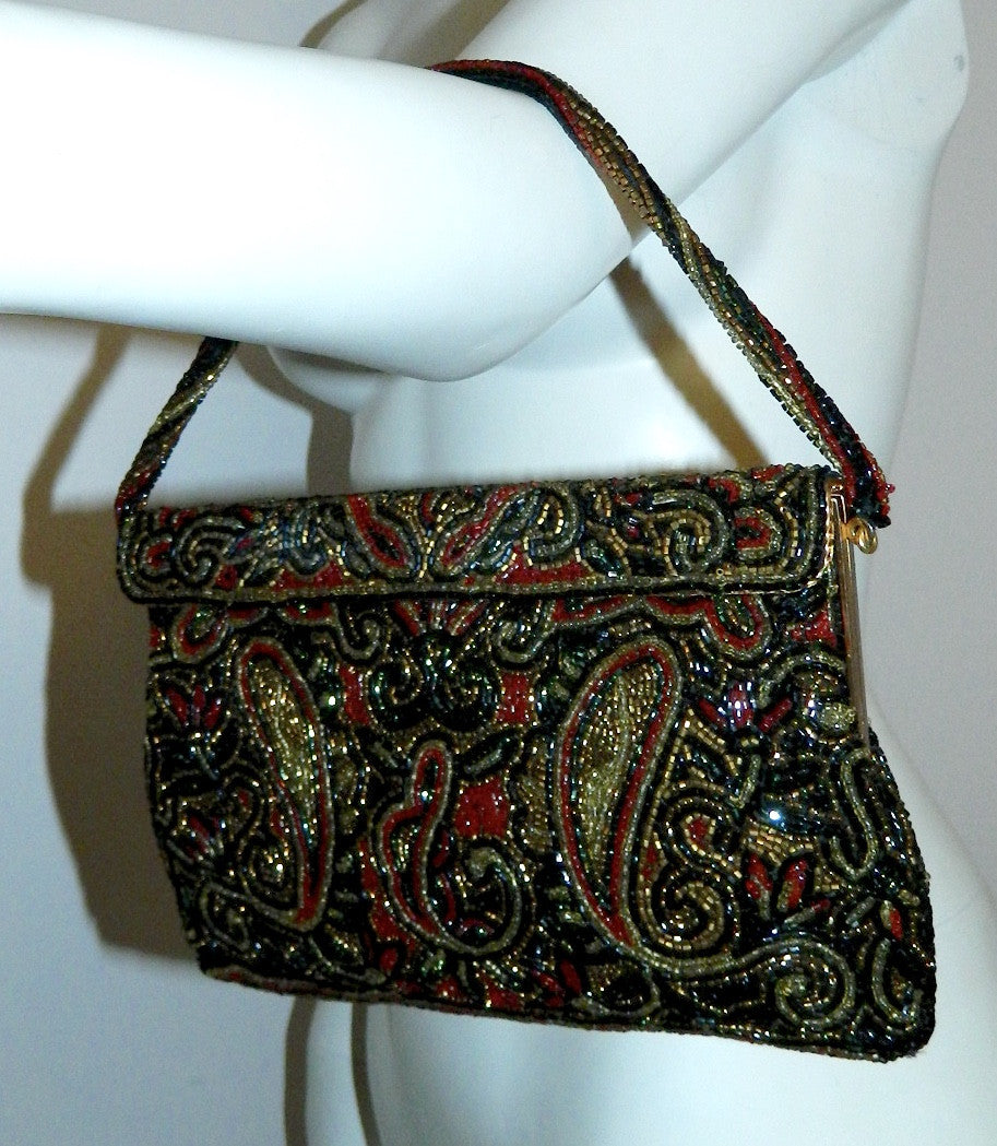 vintage black beaded evening bag 1950s WALBORG paisley clutch handbag