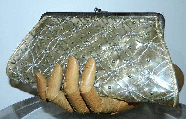 vintage 1950s plastic clutch bag / clear purse / silver metal studs lurex weave