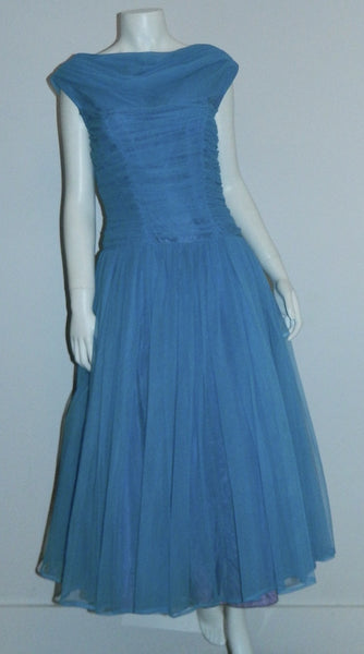 vintage 1950s sky blue formal party dress / 50s full skirted frock