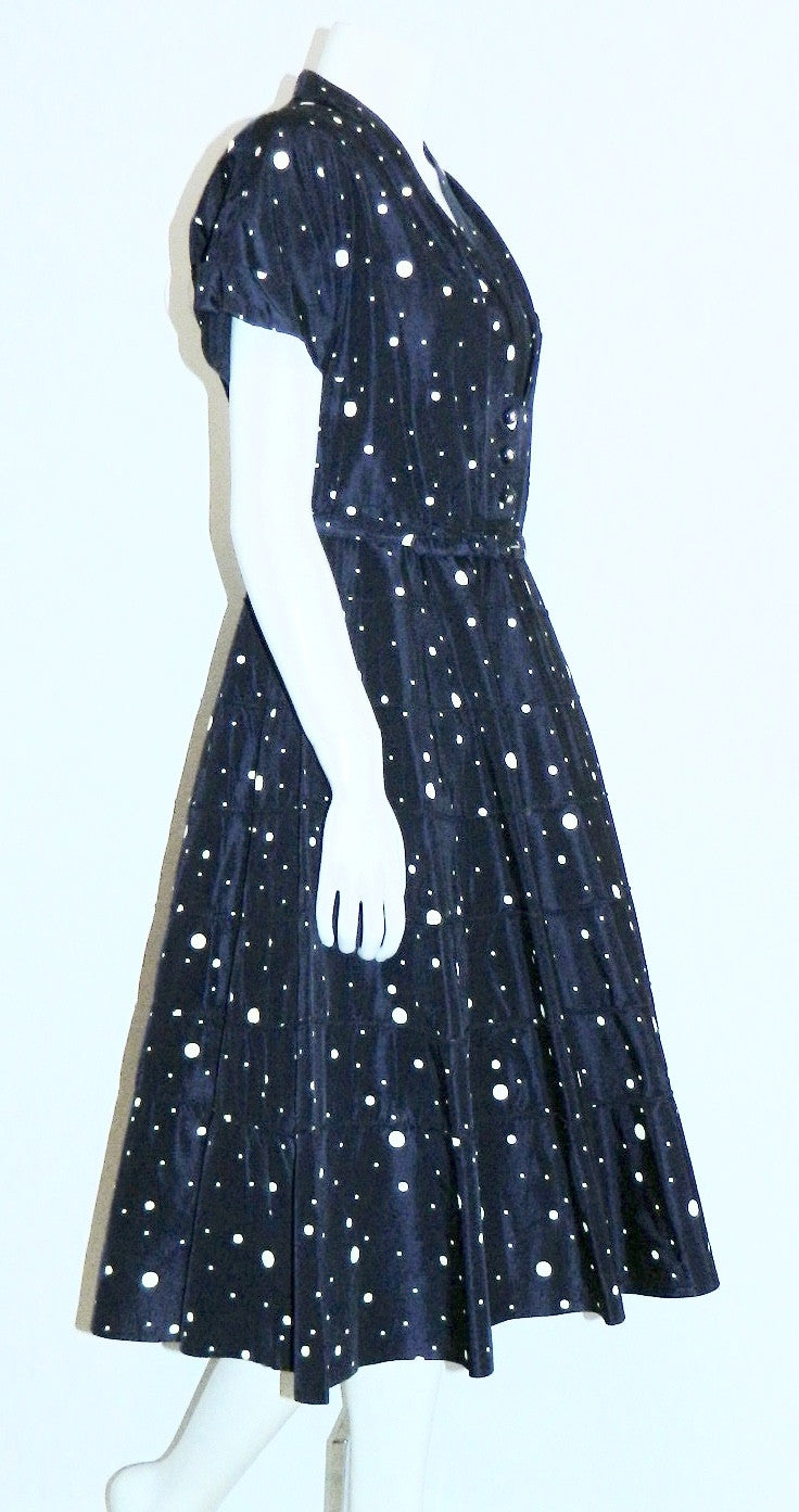 vintage 1950s blue polka dot dress / circle skirt / rhinestone buttons / New Look party frock