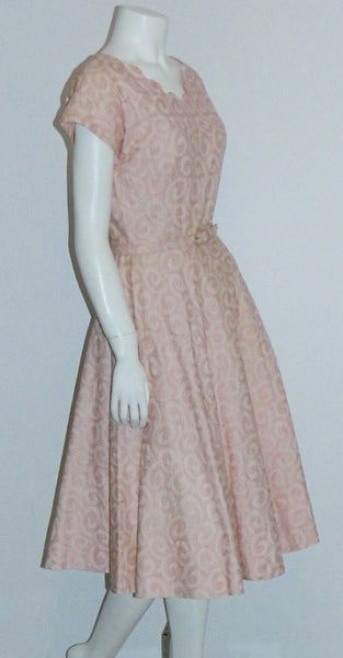 vintage 1950s dress peach pink L'Aiglon swirls 50s embroidered day dress XS