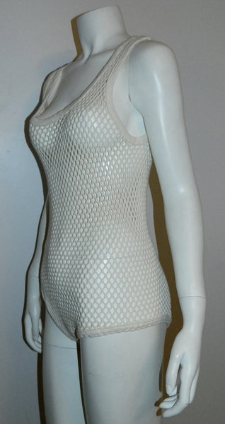 white mesh bodysuit vintage 1960s Clothes Hose openwork cotton tank top