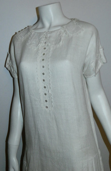 antique white linen drop waist dress 1910s 1920s vintage sporting attire