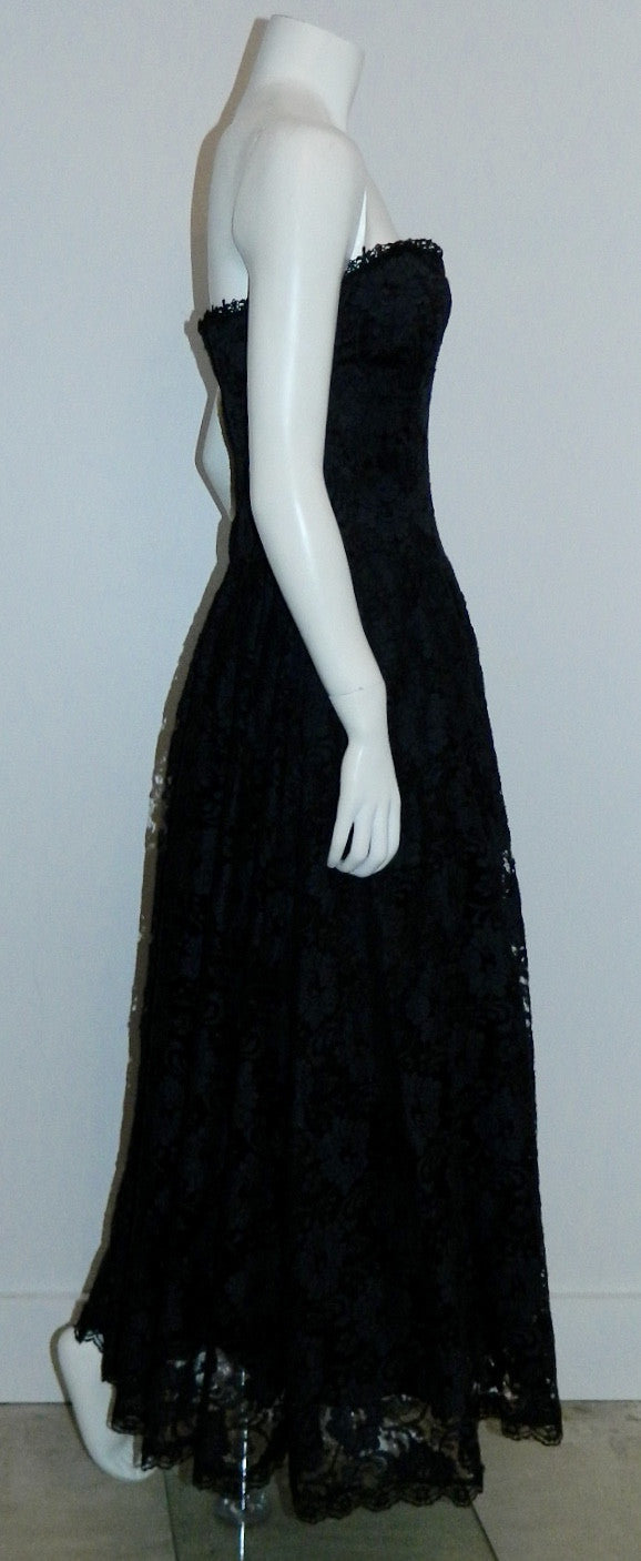 vintage 1980s strapless dress Jessica McClintock black lace dress XS S