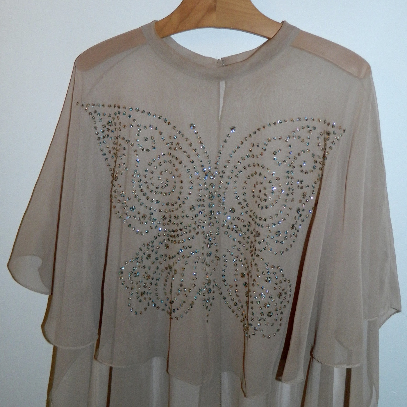 nude chiffon cape Glitter Butterfly vintage 1970s cover up capelet