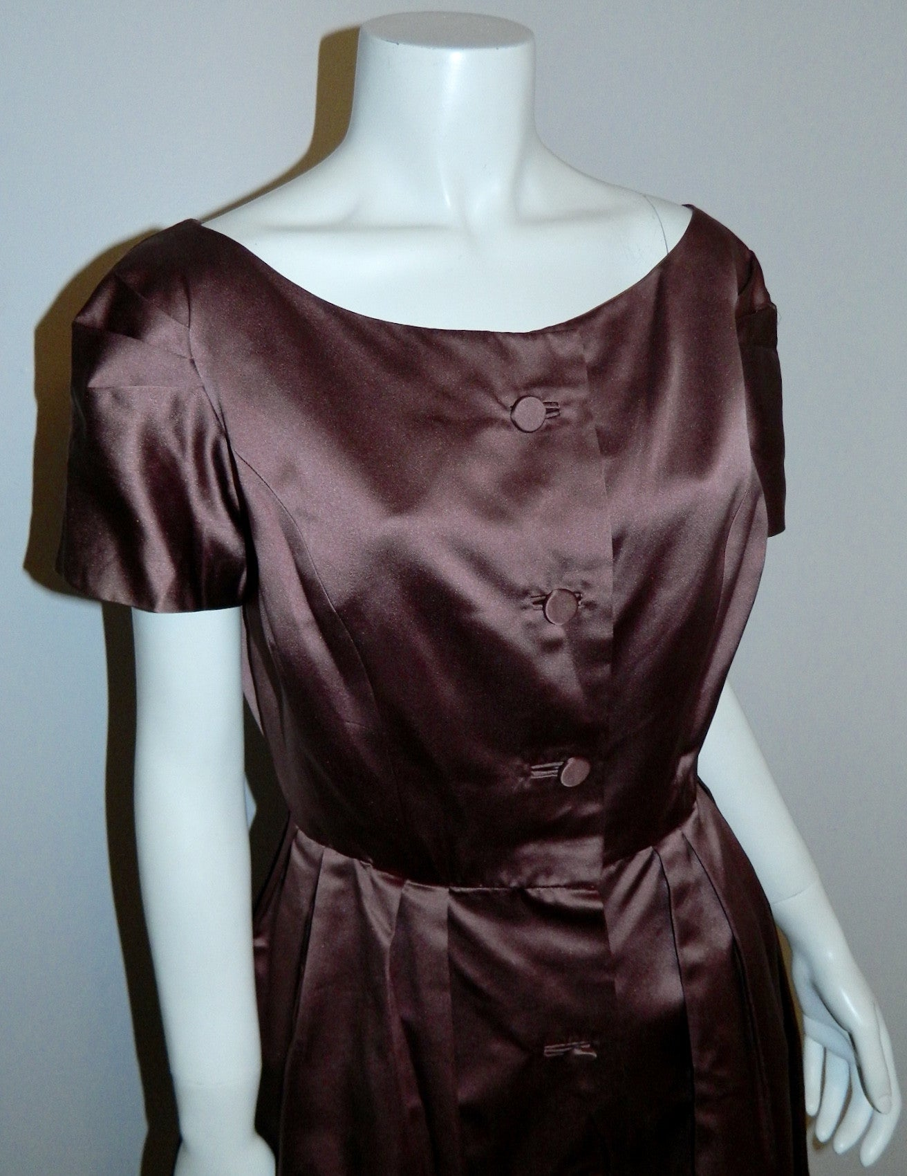 1950s silk satin party dress vintage Mildred Davis mauve 50s shirtwaist frock