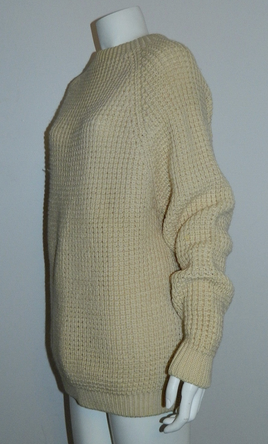 vintage FISHERMANS sweater 1970s Axello Denmark cream wool 52 / US M - L