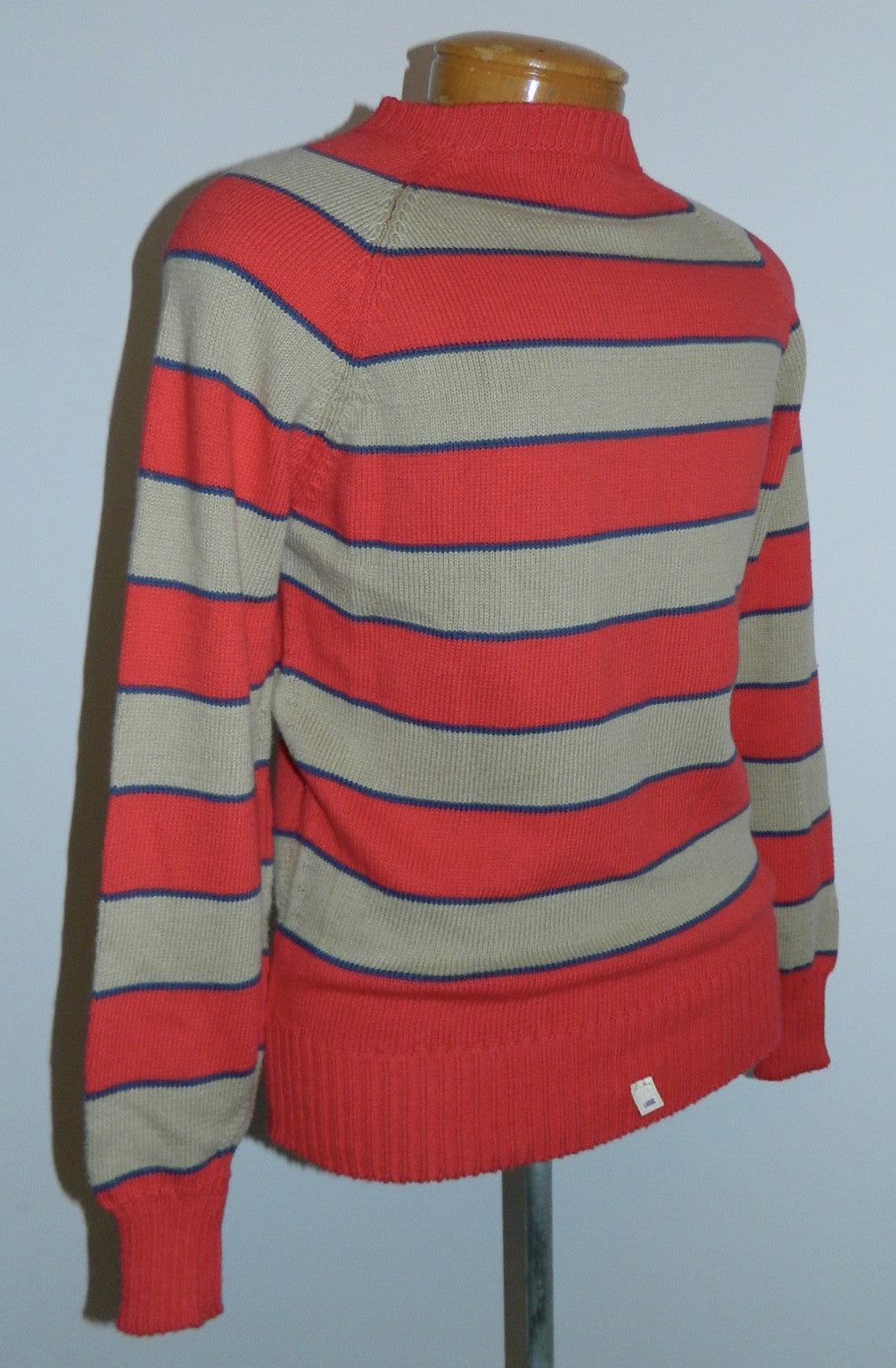 vintage 1960s sweater MOD red cotton stripe raglan sleeve Mens S - M