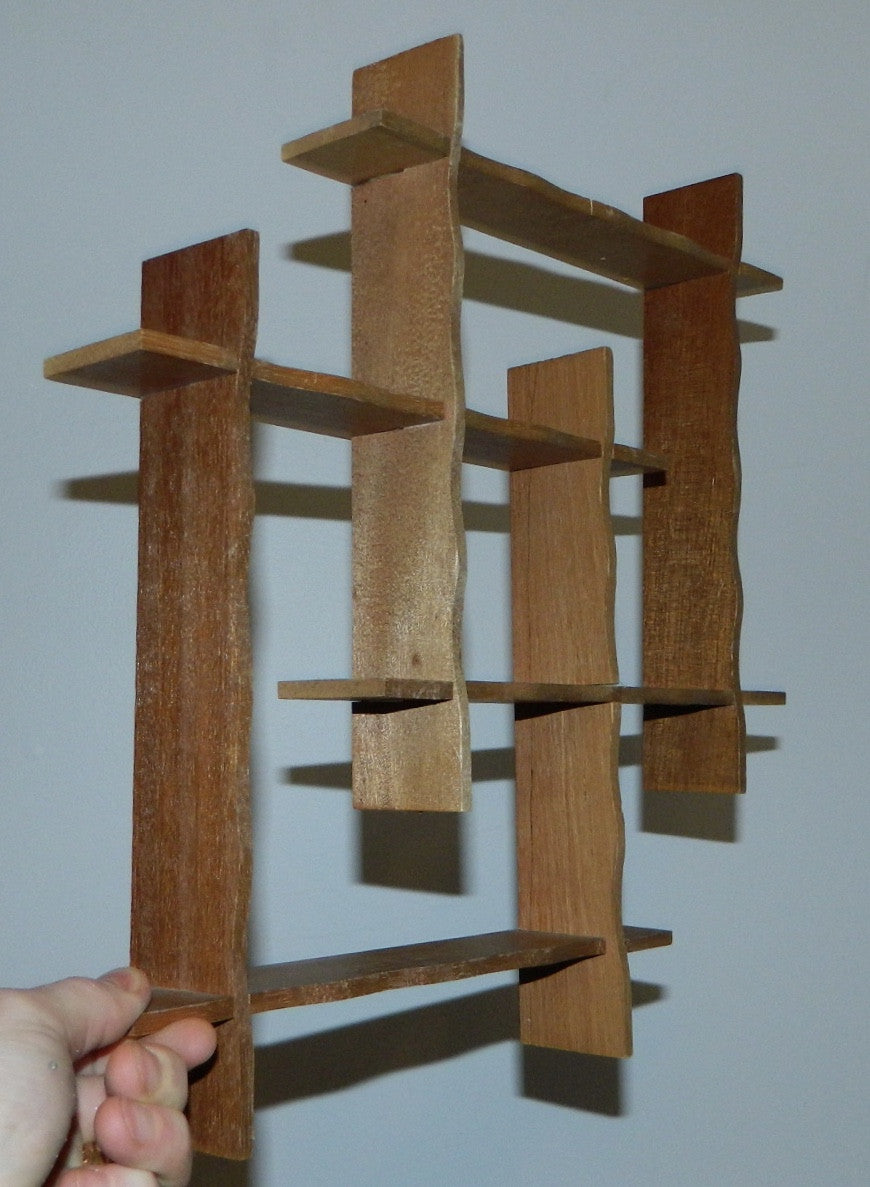vintage 1950s shelf Atomic wood shadowbox 50s MCM hanging display