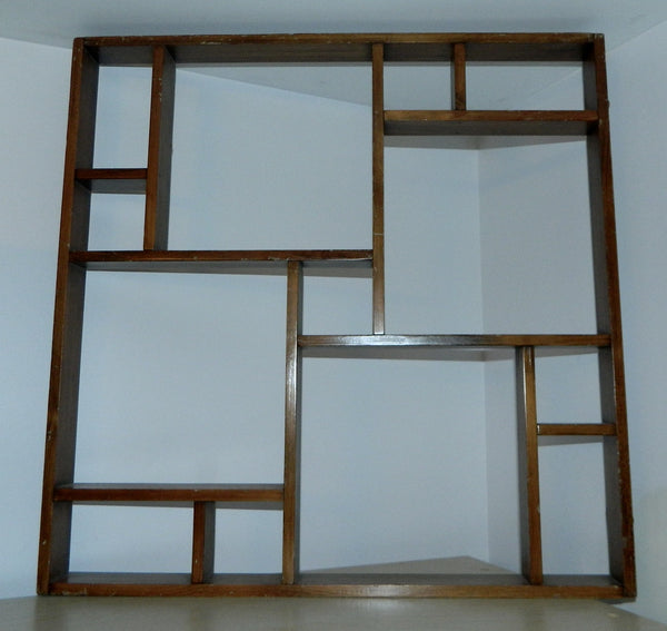 vintage 1950s shelf wood shadowbox 50s Mid Century hanging display MCM decor