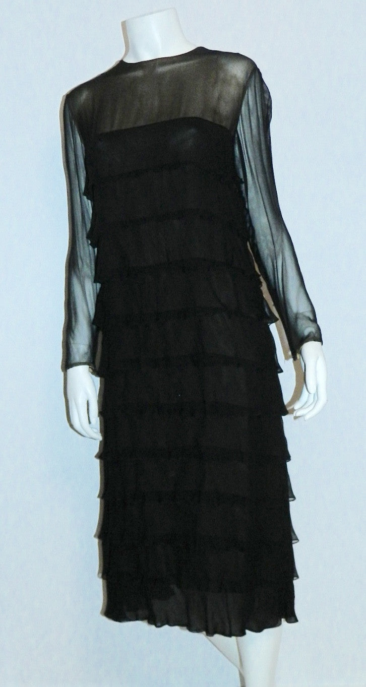 vintage 1960s Pauline Trigere black dress - silk chiffon nude illusion tiered ruffle cocktail frock S