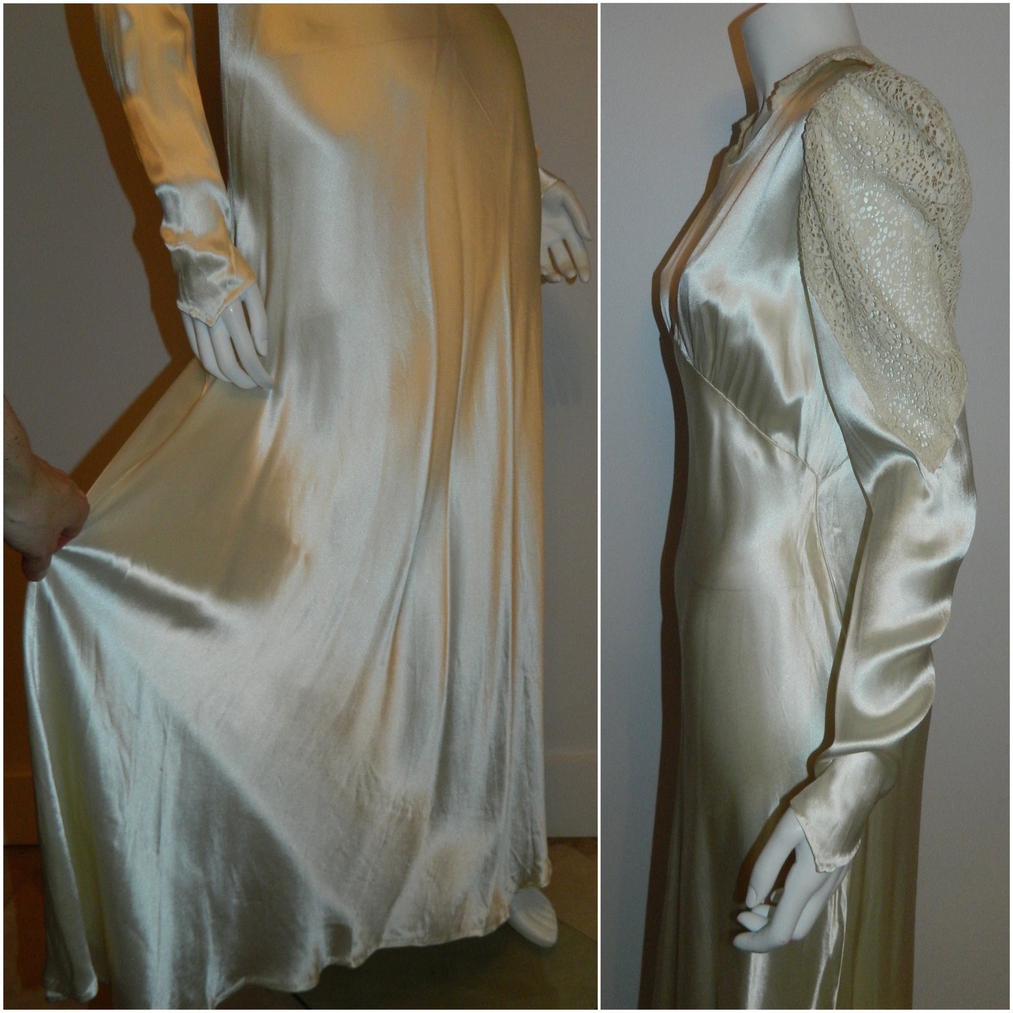 Art Deco silk satin wedding gown 1930s bias cut ivory button back dress lace sleeves XS