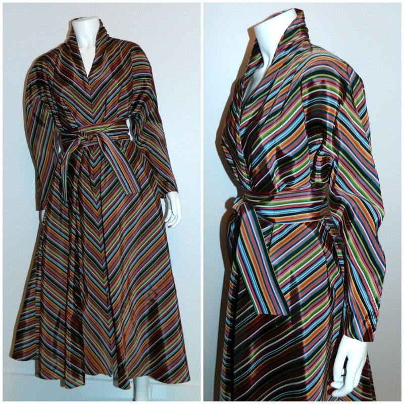 vintage 1940s striped MAXAN hostess gown trapeze bias cut dress caftan OSFM