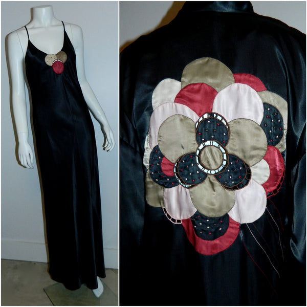 black satin Ora Feder nightgown robe peignoir set / hand embroidery / 1970s vintage