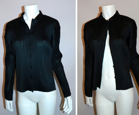 vintage ISSEY MIYAKE black PLEATS PLEASE shirt top blouse oxford M