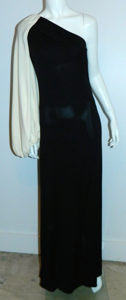 vintage 1960s WERLE gown / black one shoulder jersey dress XS