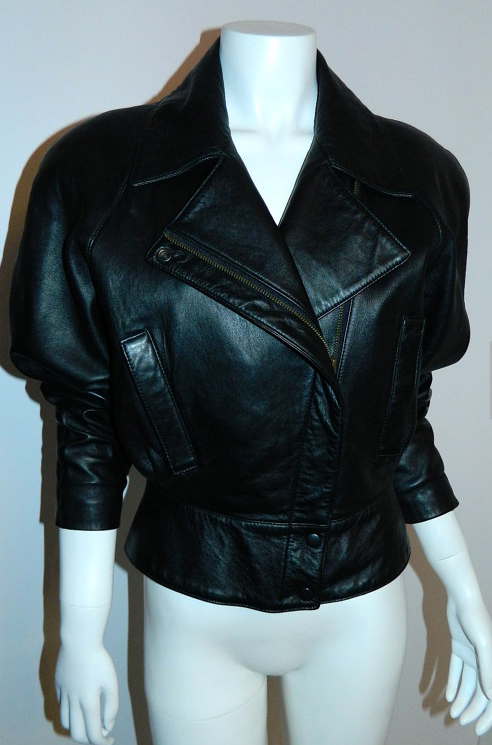 vintage 1980s black motorcycle jacket North Beach Leather Michael Hoban XS S