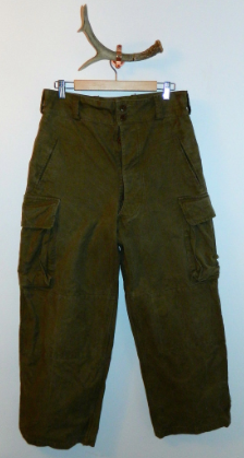 vintage 1950s canvas pants 50s French army cargo trousers 33 inch waist