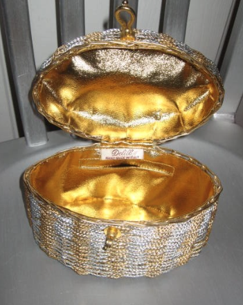 vintage 1960s evening bag DELILL silver gold metal basket weave Italy