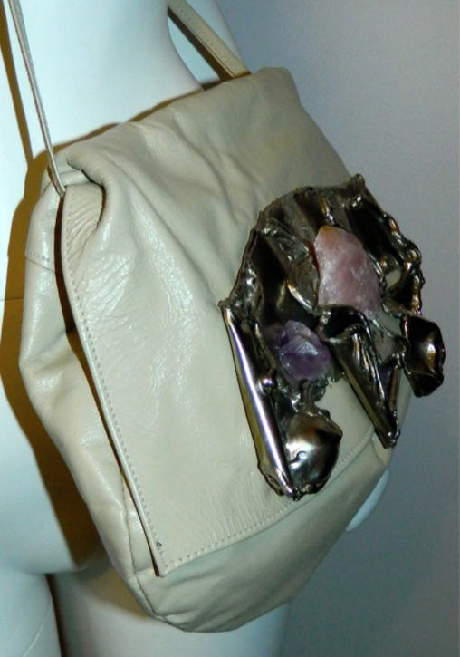 vintage 1970s purse Brutalist metal sculpture Copa Collection bag amethyst rose quartz silver